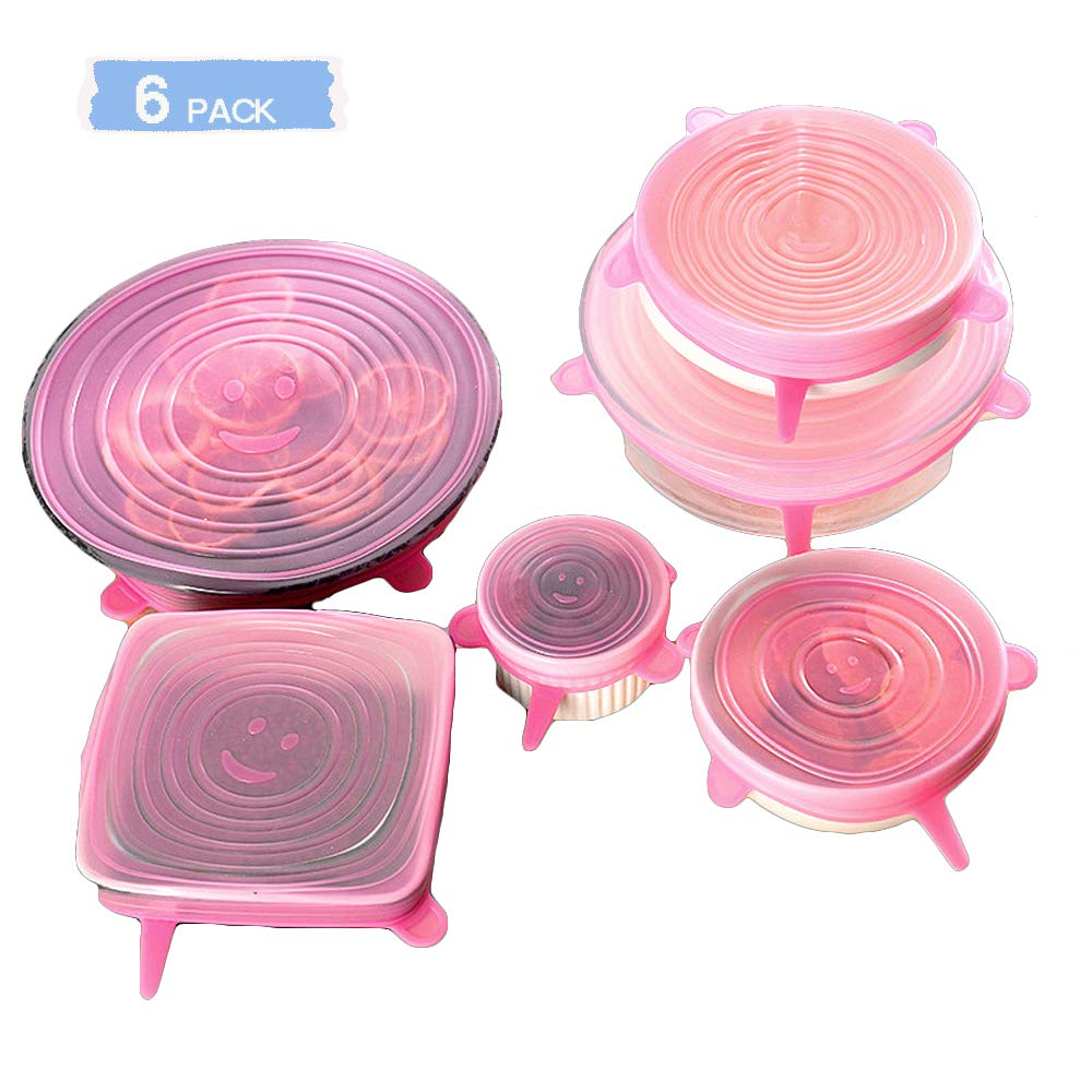 Silicone Stretch Lids, (Pink) 6 Pack Flexible Lids for Bowls, Reusable Durable and Expandable Lids, Eco-friendly Stretch for Container, Bowl and Cup Cover in Dishwasher, Refrigerator and Microwave
