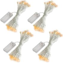 Accmor 4 Pack 10ft/3m 30 LEDs Mini Bulb Battery Operated Fairy String Lights,Super Bright Starry Lights for Gift Wedding Party Bedroom Home Halloween Decoration, Crafts (Warm White)