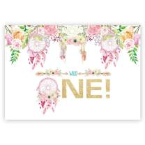 Funnytree 7x5ft Pink Flowers Wild one Backdrop Rustic First Birthday Baby Girl Photography Background Trible Floral Boho Dreamcatcher Party Invitation Decorations Cake Table Banner Photobooth
