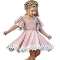 Colorful Childhood Baby Girls Dress Toddler Girls Flare Lace Trim Princess Party Dress