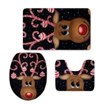 chaqlin Reindeer Printed 3 Piece Bathroom Rug Set Non-Slip Absorbent Bath Mat Contour and Toilet Cover Christmas Design