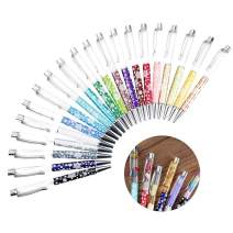 20 PACK Colorful Empty Tube Floating DIY Pens,Cute Snowflake Metal Ballpoint Pen,Building your Own Favorite Liquid Sand Pens Gift