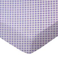 SheetWorld Fitted Portable / Mini Crib Sheet - Lavender Gingham Check - Made In USA