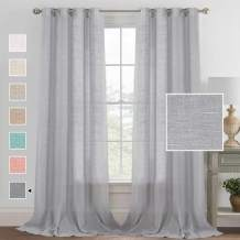 """Elegant Linen Blended Curtains Privacy Protection Light Filtering Silver Grommet Window Panels/Drapes for Bedroom/Living Room Linen Semi Sheer Curtains Set of 2 (52"""" W x 108"""" L, Gray)"""