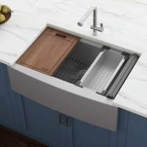 "Ruvati Verona RVH9100 30"" Apron-front Workstation Farmhouse Single Bowl Kitchen Sink, Stainless Steel, 16 Gauge"