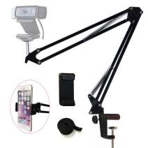 """Etubby Webcam Mount Phone Holder Suspension Scissor Arm Webcam Stand Camera Phone Tripod Holder for Cellphones, Logitech Webcam C920 C930 C922 C615 and Other Devices with 1/4"""" Threaded"""