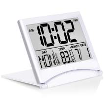 Betus Digital Travel Alarm Clock - Foldable Calendar Temperature & Timer LCD Clock with Snooze Mode - Large Number Display, Battery Operated - Compact Desk Clock for All Ages (Silver)