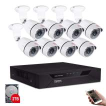 Tonton 8CH Full HD 1080P Home Security Camera System Outdoor, 5-in-1 Surveillance Video DVR with 2TB HDD and 8PCS 2MP Waterproof Bullet Cameras,Free App and Email Alerts,Quick Remote Access