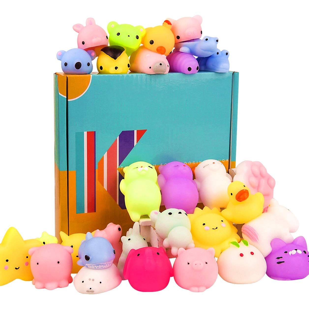 KUUQA 30 Pcs Mochi Squishies Easter Egg Fillers Kawaii Animal Squishy Unicorn Dinosaur Tortoise Mini Soft Squeeze Stress Reliever Toys for Kids Adults Birthday Party Favors Bags