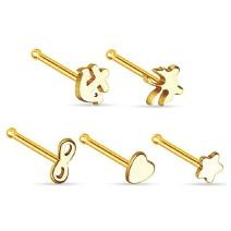BodyJ4You Nose Bone Stud 20G (0.8mm) Stainless Steel 5 Pieces