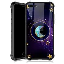 iPhone 8 Plus Case,Moon Star Mandala iPhone 7 Plus Cases for Girls,Tempered Glass Back Cover Anti Scratch Reinforced Corners Soft TPU Bumper Shockproof Case for iPhone 7/8 Plus Golden Starry Sky