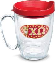 Tervis 1080192 Fraternity - Chi Omega Tumbler with Emblem and Red Lid 16oz Mug, Clear