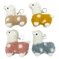 "Cuecutie 4PCS Alpaca Plush Keychain Soft Llama Mini Stuffed Animals Pendants Cute Llama Alpaca Keyring Holder Car Bag Charm for Decoration Bag Ornaments Props 4"""
