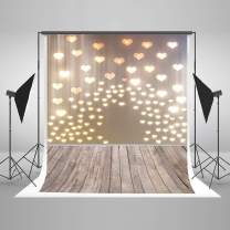 Kate 5x7ft Bokeh Backdrops Valentine's Day Photography Backdrops Wooden Floor Photo Background