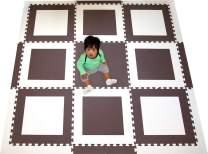 SoftTiles Interlocking Foam Kids Playmat- Geometric Squares- Brown and White Large 2' Foam Tiles with sloped Edges for Kids Playrooms and Baby Nursery (6.5' x 6.5') SCSQBW9