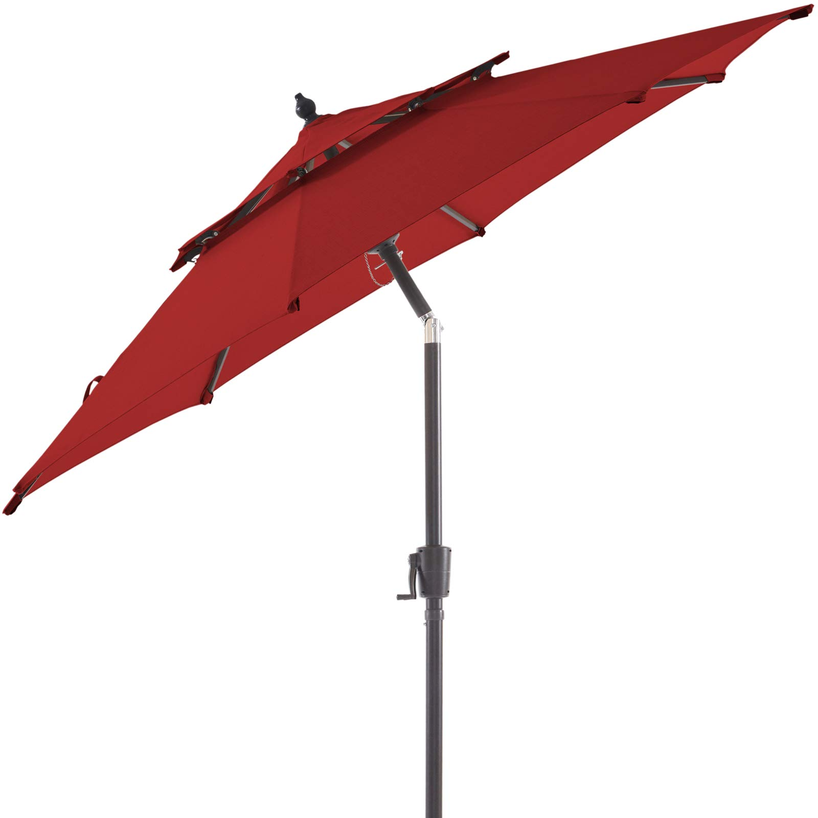 BLUU Olefin 9 FT 2 Tier Patio Market Umbrella Outdoor Table Umbrellas, 3-year Nonfading Olefin Canopy, Market Center Umbrellas with 8 Sturdy Ribs & Push Button Tilt for Garden, Lawn & Pool (Apple Red)