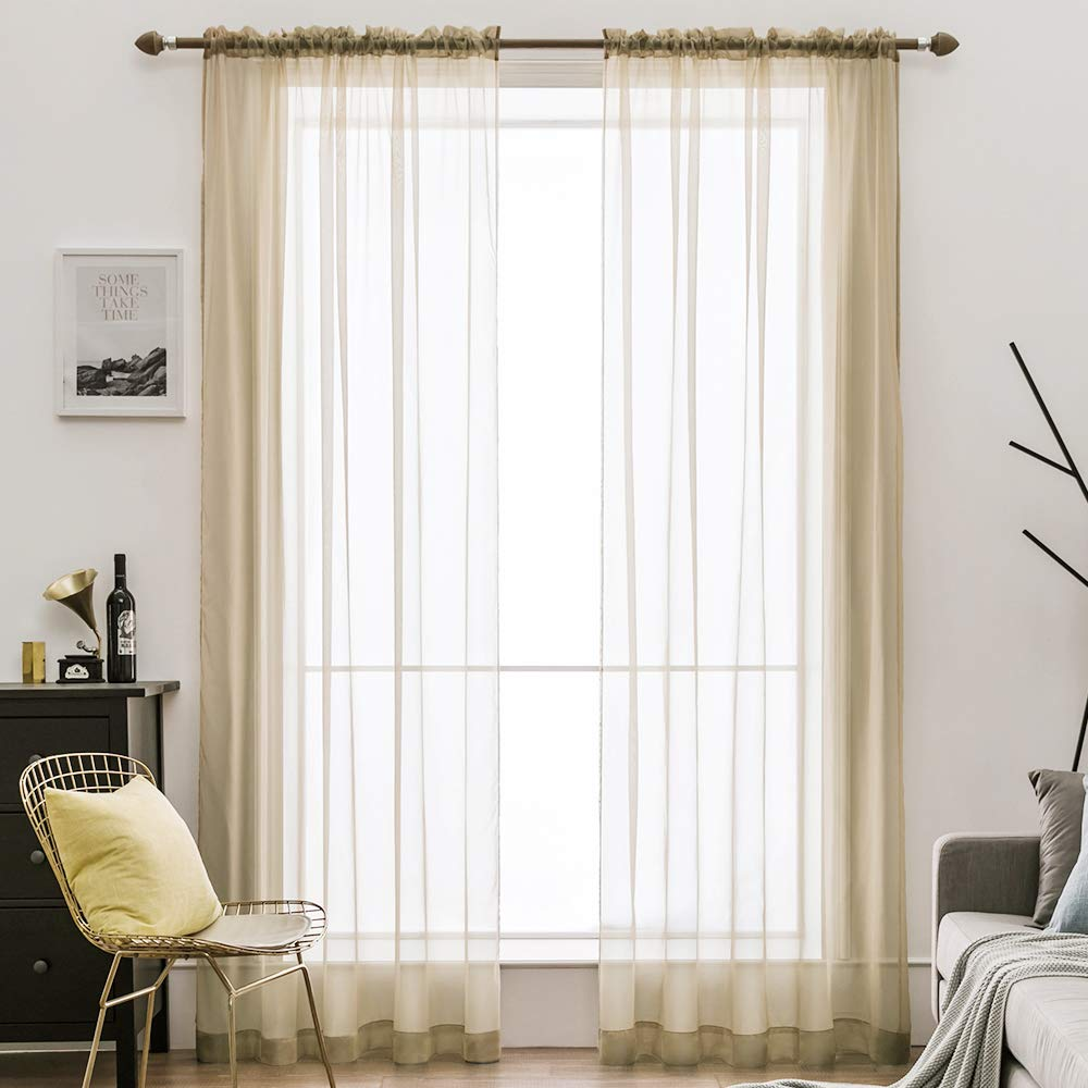 MIULEE 2 Panels Solid Color Sheer Window Curtains Elegant Window Voile Panels/Drapes/Treatment for Bedroom Living Room (54X84 Inches Beige)