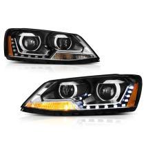 VIPMOTOZ Quad Projector Headlight Assembly For 2011-2018 Volkswagen Jetta Sedan - Matte Black Housing, Driver and Passenger Side