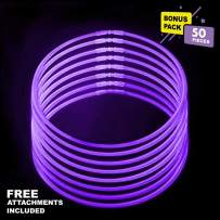 Lumistick 20 Inch Glowstick Necklace with Connectors   Kid Safe & Non-Toxic Neckwear   Great for Parties, Weddings, Halloween & Christmas with Glows up to 12 Hours (Purple, 50 Glow Sticks)