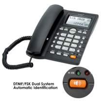 Desktop Corded Telephone, Hands-Free Calling, LCD Display, DTMF/FSK Dual System, Wired Landline Phone for Home/Hotel/Office, Adjustable Volume, Real Time Date&Week Display, Adjustable LCD Brightness