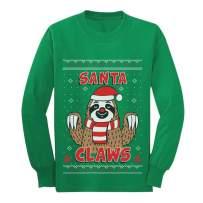 Santa Claws Sloth Ugly Christmas Sweater Xmas Youth Kids Long Sleeve T-Shirt