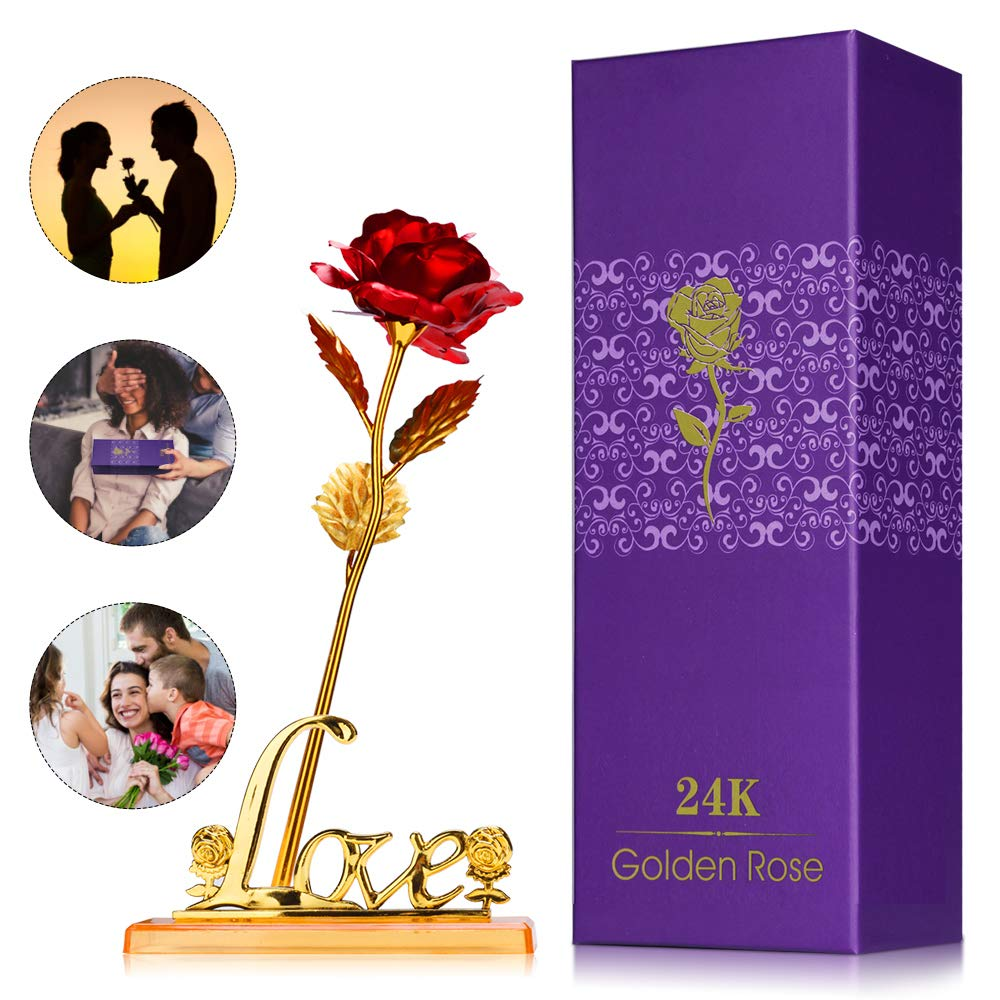 KIPIDA Colorful Rose Artificial Flowers Gold Roses Flower,Unique Gift for Mother's Day Valentine's Day Anniversary Thanksgiving Girl's Birthday for Her Girlfriend Wife Women with Love Shaped Base