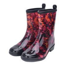 Women Half Calf Rubber Rainboots Floral Printed Waterproof Rubber for Garden Women rain Footwear…