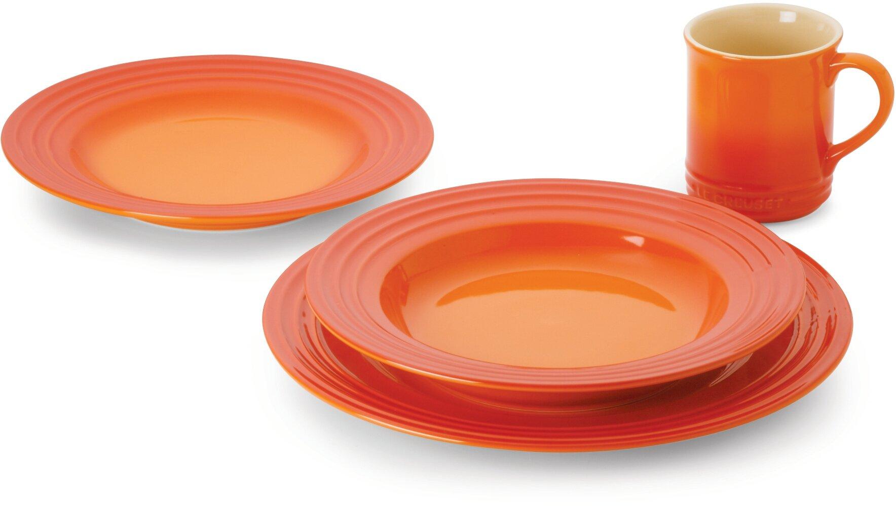 Le Creuset Stoneware 16-Piece Dinnerware Set, Flame