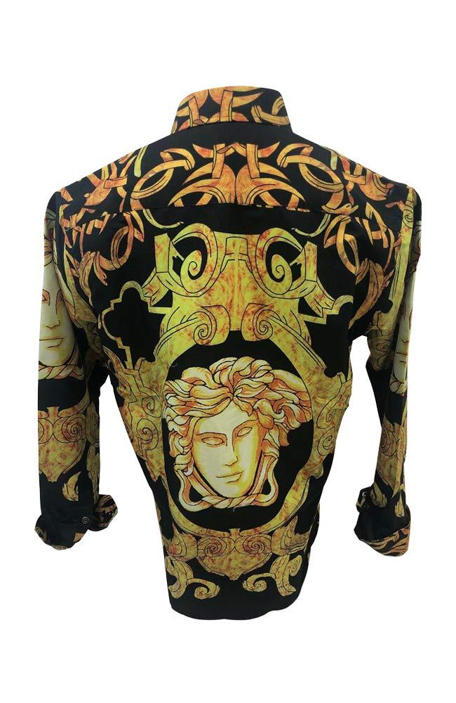 Men's Premiere Designer Fashion Dress Shirt Casual Shirt Woven Short Sleeve Button Down Shirt (3XL, Black & Yellow)