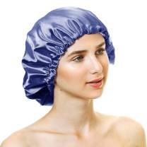 Greatremy Satin Bonnet Sleep Cap, Adjustable Double-Layered Navy Blue/Light Purple Silky Satin Nightcap with Drawstring for Women - Large (For Short to Shoulder Length Hair)