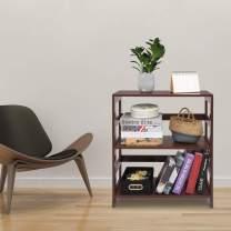 SSLine Storage Rack Wood Shelf 3 Tier Bookcase Shelf Storage Organizer, Brown