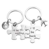 G-Ahora Couple Puzzle Keychain Set I'll be Waiting Keychain Deployment Gift Anniversary Valentines Gift for Wife Husband(Will be Waiting KPR)