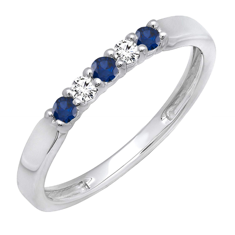 Dazzlingrock Collection 10K Round Gemstone & White Diamond 5 Stone Ladies Anniversary Wedding Band Ring, White Gold