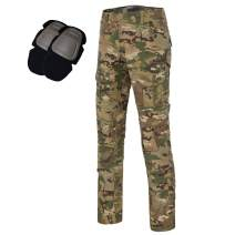 Men's Tactical Airsoft Pants Shirt with Knee Pads Camo Military Combat BDU Long Sleeve Trousers MFN