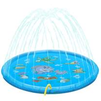 """multifun Splash Pad, 68"""" Sprinkler Splash Play Mat for Kids Learning Outdoor Water Fun Inflatable Water Toys Wading Pool for Toddlers Boys Girls Children Outdoor Party - WaterBalloons Included(Blue)"""
