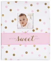 C.R. Gibson White, Pink and Gold Polka Dot 'Welcome Sweet Baby' Baby Memory Book for Baby Girls, 60 pgs, 9'' W x 11.125'' H