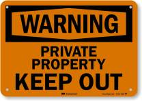 """Warning - Private Property, Keep Out"" Sign by SmartSign 