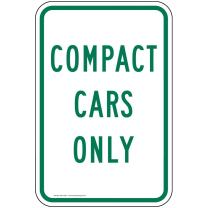 Compact Cars Only Sign, White Reflective, 18x12 in. with Center Holes on 80 mil Aluminum for Parking Control by ComplianceSigns
