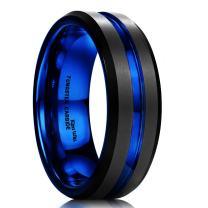 King Will Mens Black Matte Finish Tungsten Carbide/Tungsten Silicone Set Ring Blue Wedding Band