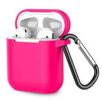 Airpods Case, Coffea AirPods Accessories Shockproof Case Cover Portable & Protective Silicone Skin Cover Case for Airpods 2 & 1 (Front LED Not Visible) - Rose Red