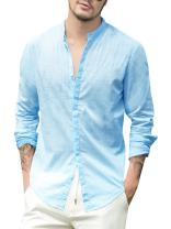 PASLATER Mens Button Down Linen Shirts Long Sleeve Loose Summer Beach Casual Shirt Banded Collar Tops