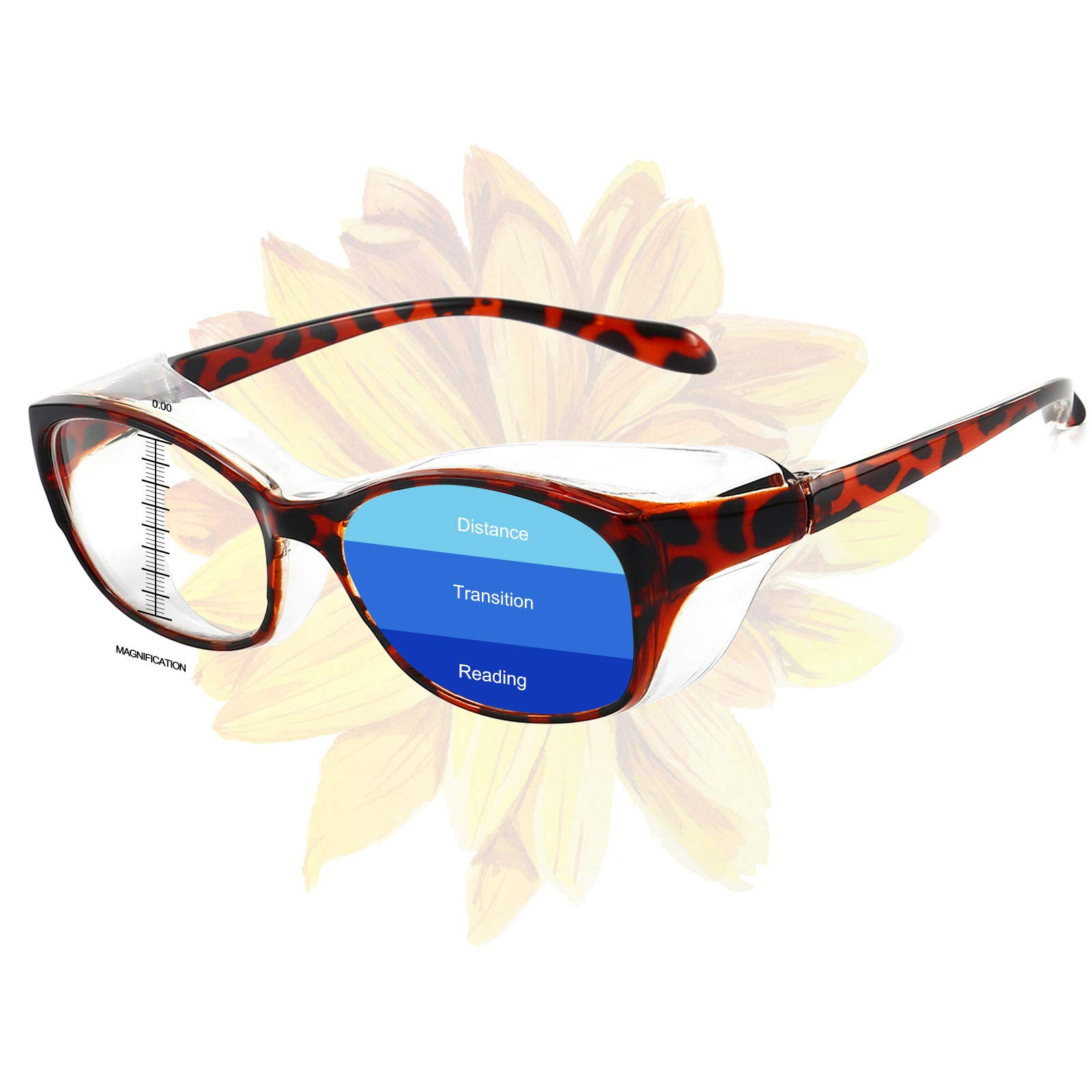 Progressive Safety Glasses with Readers 1.5 2.0 Reading Goggles for Men Women Eye Protection Safety Reader with Blue Light Goggles Leopard 1.0
