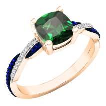 Dazzlingrock Collection 18K 6 MM Created Cushion Gemstone & Round Blue Sapphire & Diamond Ladies Engagement Ring, Rose Gold