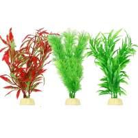 Bosmarlin Artificial Aquarium Plants, Plastic Fish Tank Plants Decor, 8 Inches, 3 Pack, Non-Toxic & Safe for All Fishes (A)