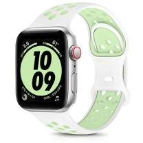 OYODSS Sport Bands Compatible with Apple Watch Band 38mm 40mm 42mm 44mm, Breathable Soft Silicone Replacement Strap Compatible with iWatch Series 6 5 4 3 2 1 SE Women Men Spruce Aura&Vapor Green