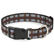 Buckle-Down Dog Collar Plastic Clip Star Wars Chewbacca Bandolier Bounding Browns Gray 9 to 15 Inches 0.5 Inch Wide, Multi Color (DC-BKSR-WSW109-0.5-L)