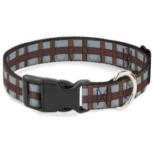 Dog Collar Plastic Clip Star Wars Chewbacca Bandolier Bounding Browns Gray 11 to 17 Inches 1.0 Inch Wide