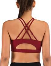 MotoRun Padded Strappy Sports Bras for Women Criss Cross Back Medium Support Workout Running Yoga Bra