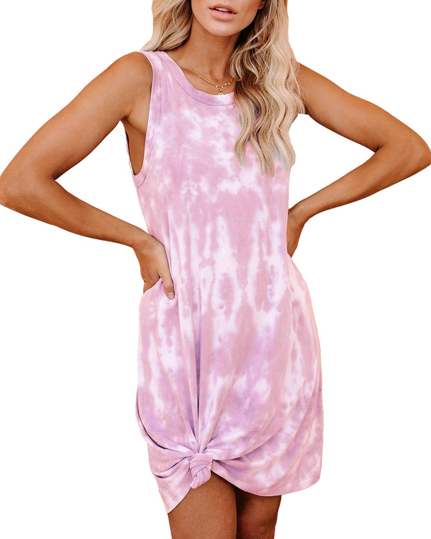 CYiNu Womens Tie Dye Dresses Sleeveless Loungewear Tank Nightgown Loose Comfy Pajama Sleepwear