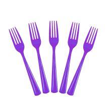 Exquisite Solid Color Premium Plastic Cutlery, Heavy Duty Plastic Disposable Forks - 50 Count - Purple